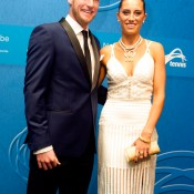 Sam Groth (left) and partner Brittany Boys on the blue carpet at the 2014 Newcombe Medal Australian Tennis Awards; Elizabeth Xue Bai