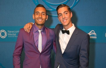 Nick Kyrgios (L) and Thanasi Kokkinakis on the blue carpet at the 2014 Newcombe Medal Australian Tennis Awards; Fiona Hamilton