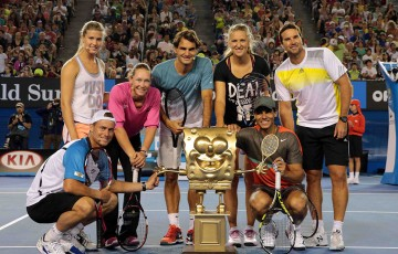 Stars of the game on Rod Laver Arena as part of Kids Tennis Day at Australian Open 2014; Getty Images