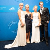 (L-R) Storm Sanders, Kate Sheehan, Daria Gavrilova and Luke Saville on the blue carpet at the 2014 Newcombe Medal Australian Tennis Awards; Elizabeth Xue Bai