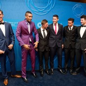 (L-R) Thanasi Kokkinakis, Nick Kyrgios, Omar Jasika, Daniel Guccione, Alex Bolt and Aiden Hill on the blue carpet at the 2014 Newcombe Medal Australian Tennis Awards; Elizabeth Xue Bai