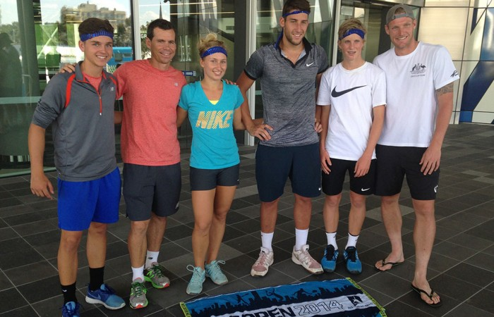 (L-R) Lucas Vuradin, Scott Draper, Daria Gavrilova, Daniel Guccione, Todd Millington and Sam Groth during the Amazing Race team building exercise at Melbourne Park; Tennis Australia