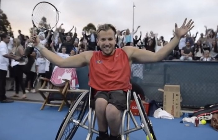 Dylan Alcott during his 24-hour tennis challenge.
