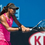 Naiktha Bains in action during the Australian Open 2015 Play-off at Melbourne Park; Elizabeth Xue Bai