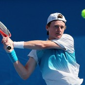 Blake Mott in action during the Australian Open 2014 qualifying event; Getty Images