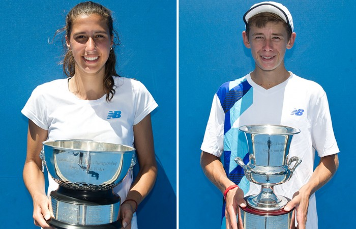 16/u Australian Championships winners Jaimee Fourlis (L) and Alex De Minaur; Elizabeth Xue Bai