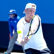 Harry Bourchier plays a backhand en route to victory in the semifinals of the 2014 18/u Australian Championships at Melbourne Park; Getty Images