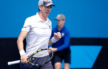 John-Patrick Smith in action during his quarterfinal victory over Blake Mott at the Australian Open 2015 Play-off; Mae Dumrigue