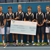 The winning Kooyong Classics team of (L-R) David Bidmeade, Andrew Whittington, Greg Jones, Daniel Byrnes, Marc Polmans and John Peers; Tennis Australia