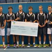 The winning Kooyong Classics team of (L-R) David Bidmeade, Andrew Whittington, Greg Jones, Daniel Byrnes, Marc Polmans and John Peers; Tennis Australia
