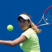 No.2 seed Daniela Kovacevic in action at the 14/u Australian Championships; Elizabeth Xue Bai