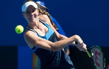Olivia Rogowska in action during her first round win at the Australian Open 2015 Play-off; Elizabeth Xue Bai