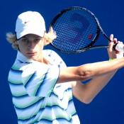 Kody Pearson in action during the 2014 16/u Australian Championships at Melbourne Park; Mae Dumrigue