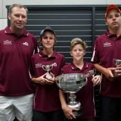 Team QLD (L-R) Des Tyson, Patrick Harper, Dane Sweeny, Jayden Court at 14/u Australian Teams Championship trophy presentation; Elizabeth Xue Bai