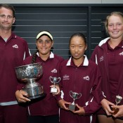 Team QLD (L-R) Adam Carey, Hana Kim, Mikayla Zahirovic, Olivia Gadecki at the 12/u Australian Teams Championship trophy presentation; Elizabeth Xue Bai
