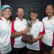 Team South Australia (L-R) Amber Marshall, Rohan Fisher, Selina Turulja and Jeanette Lin at 14/u Australian Teams Championship trophy presentation; Elizabeth Xue Bai