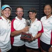 Team South Australia (L-R) Amber Marshall, Rohan Fisher, Selina Turulja and Jeanette Lin at 14/u Australian Teams Championship trophy presentation; Elizabeth Xue Bai