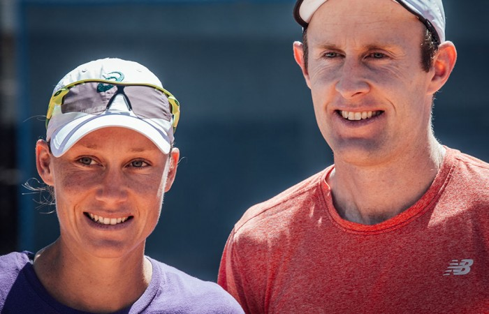 Sam Stosur (L) and Simon Rea at a training session at Melbourne Park; Rachel Goldsworthy