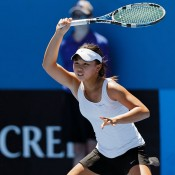 Olivia Tjandramulia in action in the girls' 18/u Australian Championships at Melbourne Park; Matt Johnson