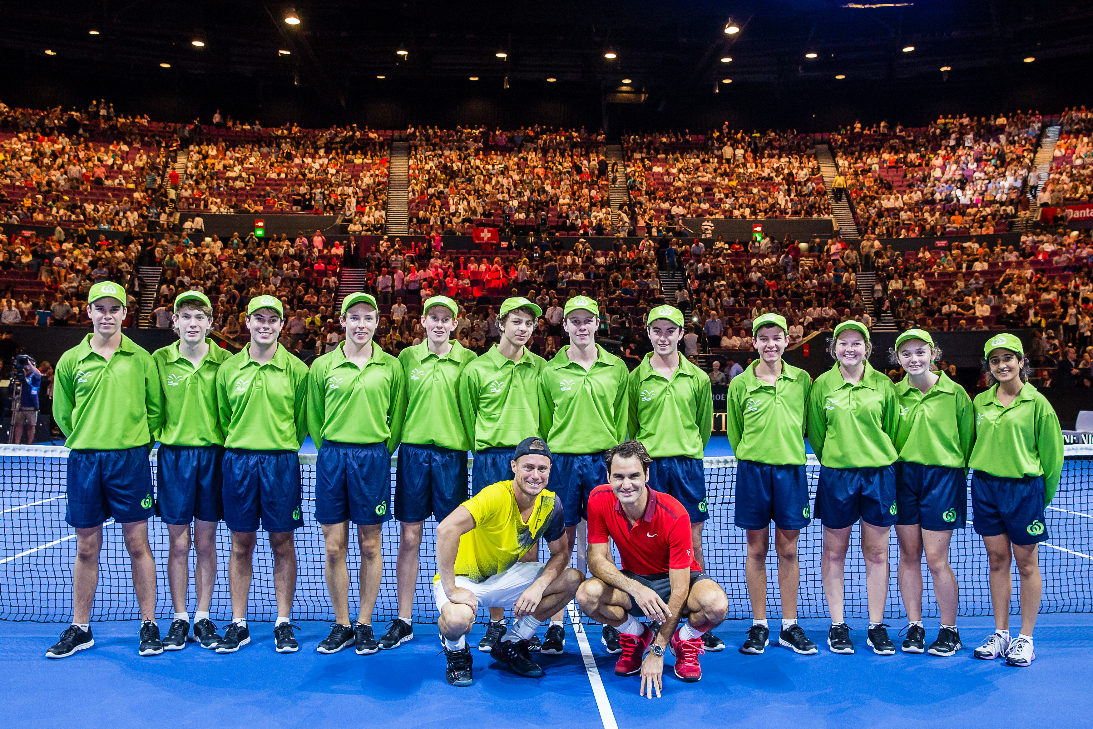 top ballkids honoured at melbourne park 26 2013 all tennis promotional event federer and hewitt