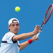 MELBOURNE, AUSTRALIA - DECEMBER 15:  Alex Bolt of Australia plays a forehand in his first round match against Marc Polmans of Australia during the 2015 Australian Open play off at Melbourne Park on December 15, 2014 in Melbourne, Australia.  (Photo by Robert Prezioso/Getty Images)