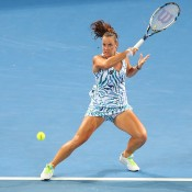 Jarmila Gajdosova whips a forehand.  (Photo by Chris Hyde/Getty Images)
