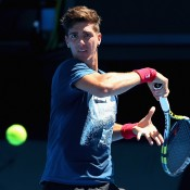Thanasi Kokkinakis plays a forehand during a practice session ahead of the 2015 Australian Open at Melbourne Park on January 12, 2015 in Melbourne, Australia.