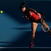 Casey Dellacqua of Australia serves in her first round match against Lauren Davis of the USA during day two of the 2015 Hobart International at Domain Tennis Centre on January 12, 2015 in Hobart, Australia.  (Photo by Mark Metcalfe/Getty Images)