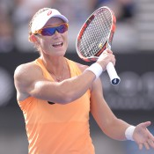 Samantha Stosur of Australia reacts after loosing a point in her second round match against Barbora Zahlavova Strycova of Czech Republic during day three of the Sydney International at Sydney Olympic Park Tennis Centre on January 13, 2015 in Sydney, Australia.  (Photo by Brett Hemmings/Getty Images)