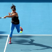 Casey Dellacqua of Australia plays a forehand during a practice session ahead of her in her second round match against Karin Knapp of Italy during day five of the Hobart International at Domain Tennis Centre on January 15, 2015 in Hobart, Australia.  (Photo by Mark Metcalfe/Getty Images)