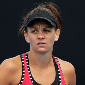 HOBART, AUSTRALIA - JANUARY 15:  Casey Dellacqua of Australia looks on during her second round match against Karin Knapp of Italy during day five of the Hobart International at Domain Tennis Centre on January 15, 2015 in Hobart, Australia.  (Photo by Mark Metcalfe/Getty Images)