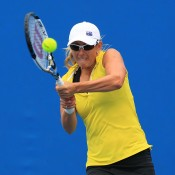 Anastasia Rodionova of Australia plays a backhand in her qualifying match against Marina Melnikova of Russia for the 2015 Australian Open at Melbourne Park on January 15, 2015 in Melbourne, Australia.  (Photo by Graham Denholm/Getty Images)