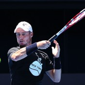 MELBOURNE, AUSTRALIA - JANUARY 17:  Lleyton Hewitt of Australia hits a forehand during a practice session ahead of the 2015 Australian Open at Melbourne Park on January 17, 2015 in Melbourne, Australia.  (Photo by Michael Dodge/Getty Images)