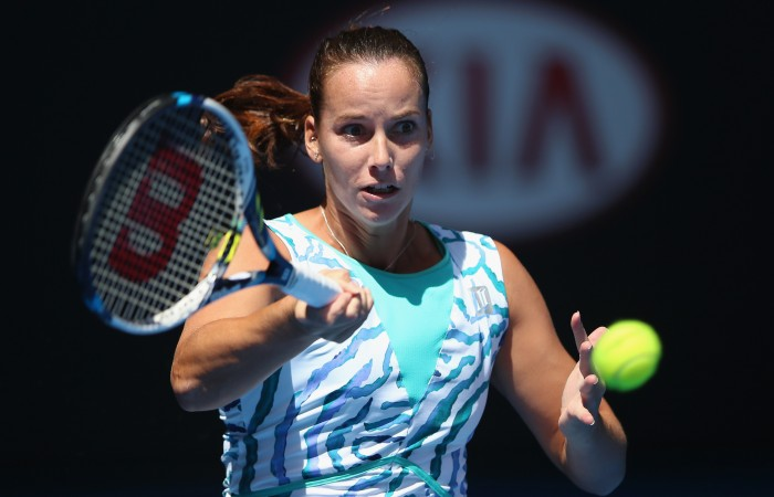 MELBOURNE, AUSTRALIA - JANUARY 19:  Jarmila Gajdosova of Australia plays a forehand in her first round match against Alexandra Dulgheru of Romania during day one of the 2015 Australian Open at Melbourne Park on January 19, 2015 in Melbourne, Australia.  (Photo by Hannah Peters/Getty Images)
