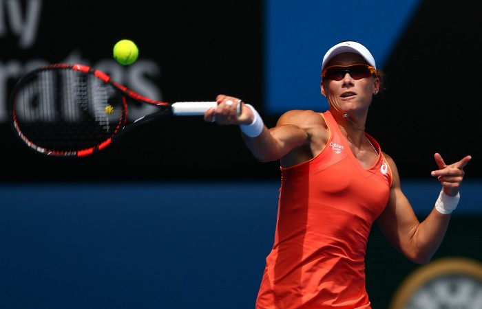 MELBOURNE, AUSTRALIA - JANUARY 20: Samantha Stosur of Australia plays a forehand in her first round match against Monica Niculescu of Romania during day two of the 2015 Australian Open at Melbourne Park on January 20, 2015 in Melbourne, Australia. (Photo by Cameron Spencer/Getty Images)