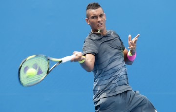MELBOURNE, AUSTRALIA - JANUARY 20:  Nick Kyrgios of Australia plays a forehand during a practice session during day two of the 2015 Australian Open at Melbourne Park on January 20, 2015 in Melbourne, Australia.  (Photo by Wayne Taylor/Getty Images)