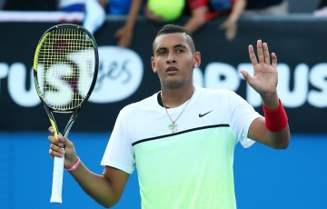 MELBOURNE, AUSTRALIA - JANUARY 21:  Nick Kyrgios of Australia celebrates winning in his second round match against Ivo Karlovic of Croatia during day three of the 2015 Australian Open at Melbourne Park on January 21, 2015 in Melbourne, Australia.  (Photo by Patrick Scala/Getty Images)