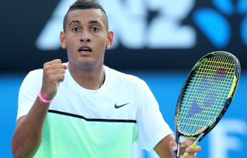 MELBOURNE, AUSTRALIA - JANUARY 21:  Nick Kyrgios of Australia celebrates a point in his second round match against Ivo Karlovic of Croatia during day three of the 2015 Australian Open at Melbourne Park on January 21, 2015 in Melbourne, Australia.  (Photo by Patrick Scala/Getty Images)