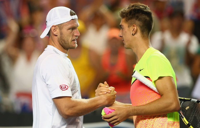 MELBOURNE, AUSTRALIA - JANUARY 21:  Samuel Groth of Australia and Thanasi Kokkinakis of Australia shake hands at the net after their second round match during day three of the 2015 Australian Open at Melbourne Park on January 21, 2015 in Melbourne, Australia.  (Photo by Mark Kolbe/Getty Images)