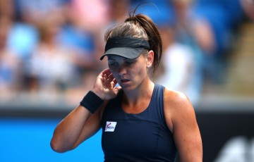 MELBOURNE, AUSTRALIA - JANUARY 22:  Casey Dellacqua of Australia looks on in her second round match against Madison Keys of the United States during day four of the 2015 Australian Open at Melbourne Park on January 22, 2015 in Melbourne, Australia.  (Photo by Mark Kolbe/Getty Images)