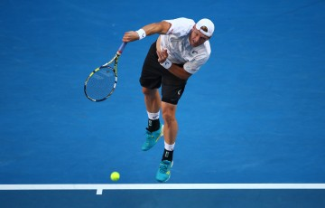 MELBOURNE, AUSTRALIA - JANUARY 23:  Samuel Groth of Australia serves in his third round match against Bernard Tomic of Australia during day five of the 2015 Australian Open at Melbourne Park on January 23, 2015 in Melbourne, Australia.  (Photo by Clive Brunskill/Getty Images)