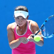 Olivia Tjandramulia plays a backhand during the Australian Open 2015 Junior Championships at Melbourne Park on January 24, 2015 in Melbourne, Australia.