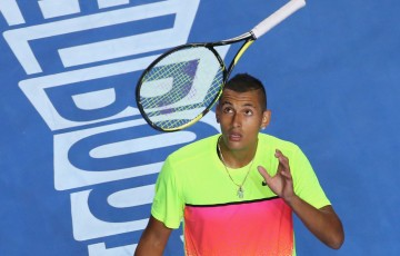 MELBOURNE, AUSTRALIA - JANUARY 25:  Nick Kyrgios of Australia throws his racquet in his fourth round match against Andreas Seppi of Italy during day seven of the 2015 Australian Open at Melbourne Park on January 25, 2015 in Melbourne, Australia.  (Photo by Scott Barbour/Getty Images)