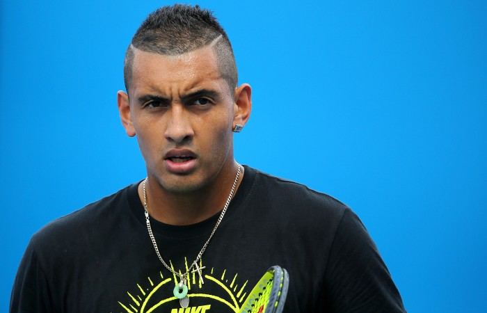 MELBOURNE, AUSTRALIA - JANUARY 26:  Nick Kyrgios of Australia looks on in a practice session during day eight of the 2015 Australian Open at Melbourne Park on January 26, 2015 in Melbourne, Australia.  (Photo by Wayne Taylor/Getty Images)