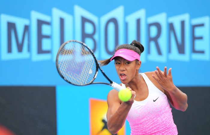 MELBOURNE, AUSTRALIA - JANUARY 27:  Destanee Aiava of Australia in action in her match against Miriam Kolodziejova of the Czech Republic during the Australian Open 2015 Junior Championships at Melbourne Park on January 27, 2015 in Melbourne, Australia.  (Photo by Wayne Taylor/Getty Images)