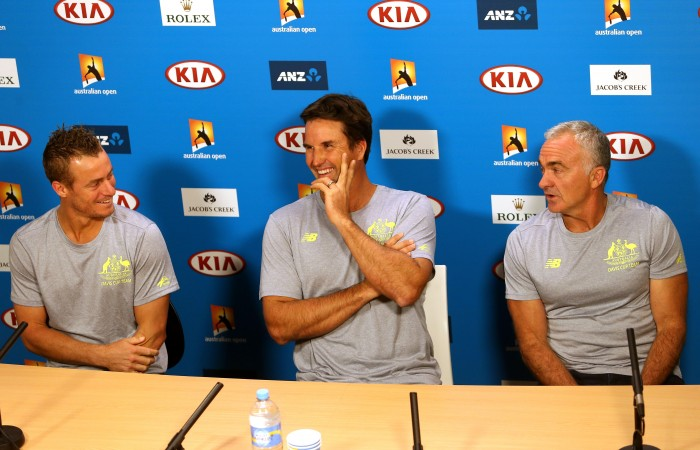 Pat Rafter (L) announces at a press conference that he is stepping down as captain of the Australian Davis Cup team, and Wally Masur (R) will captain on an interim basis, and Lleyton Hewitt will continue playing, during day 11 of the 2015 Australian Open at Melbourne Park on January 29, 2015 in Melbourne, Australia. (Photo by Patrick Scala/Getty Images)