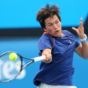 MELBOURNE, AUSTRALIA - JANUARY 30:  Akira Santillan of Australia in action in his semifinal match against Seong-chan Hong of Korea during the Australian Open 2015 Junior Championships at Melbourne Park on January 30, 2015 in Melbourne, Australia.  (Photo by Wayne Taylor/Getty Images)