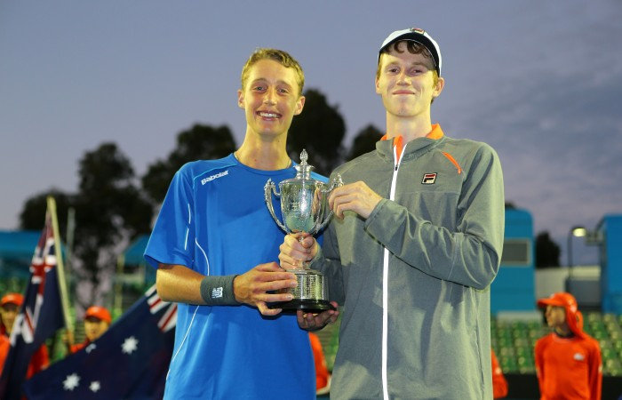 Boys' doubles champions Marc Polmans and Jake Delaney at the  Australian Open 2015 Junior Championships at Melbourne Park on January 30, 2015 in Melbourne, Australia.