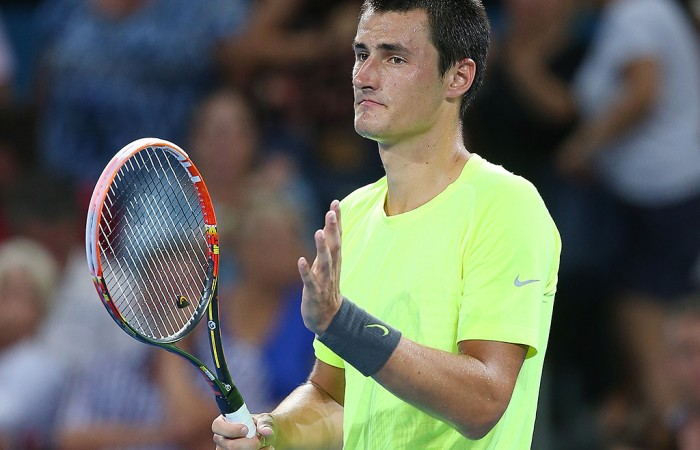 Bernard Tomic of Australia celebrates winning his match against Thanasi Kokkinakis of Australia during day four of the 2015 Brisbane International at Pat Rafter Arena on January 7, 2015 in Brisbane, Australia.  (Photo by Chris Hyde/Getty Images)