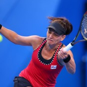 Casey Dellacqua in action during her Hopman Cup match against Agnieszka Radwanska; Getty Images
